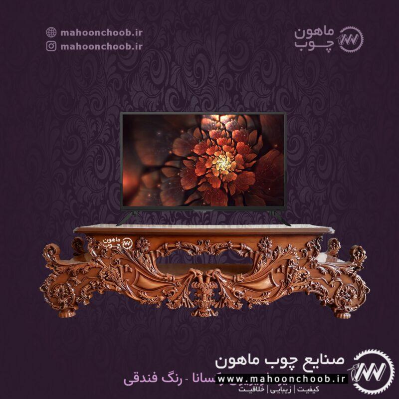 میز تلویزیون سلطنتی رکسانا - منبت چوبی لاکچری